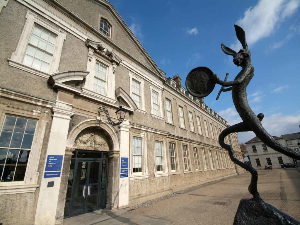 The curvaceous hare sculpture at the Irish Museum of Modern Art' entrance