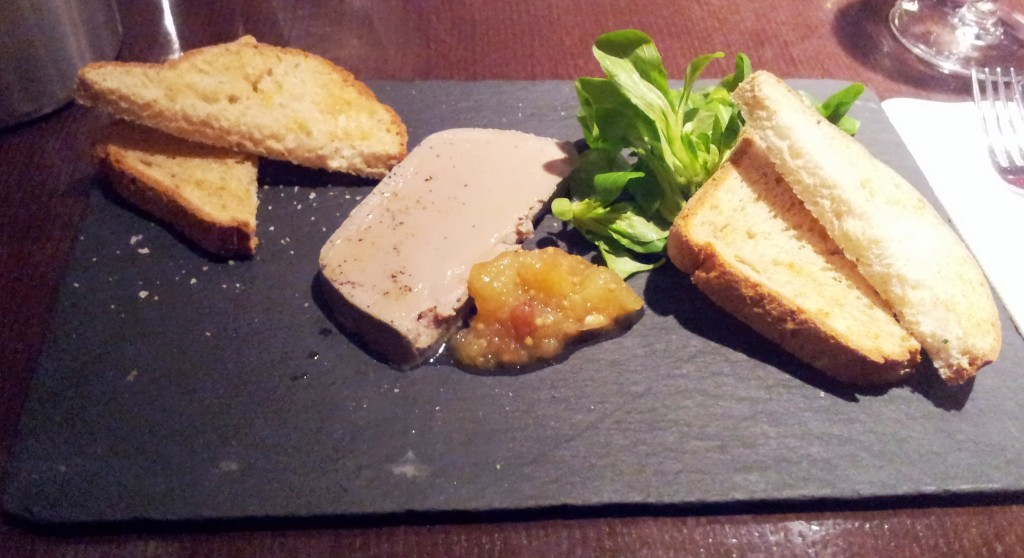 A delicious tray of chicken liver parfait at Le Bon Crubeen