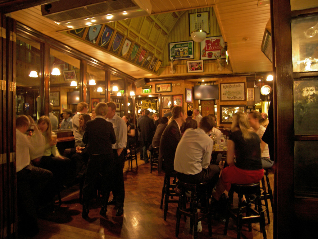 The conversation filled interior of the Doheny and Nesbitt pub