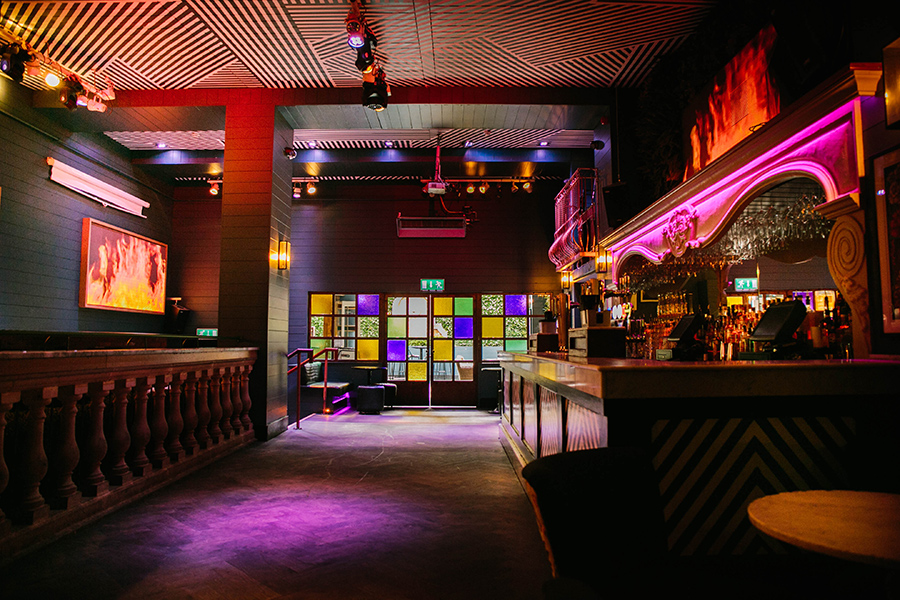 The stunning mood lit nightclub bar of Everleigh Garden