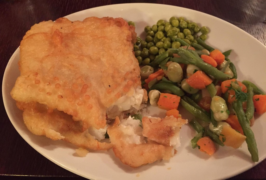 Crumbly, succulent fish pie with vegetables in Merchants Arch Bar and Restaurant