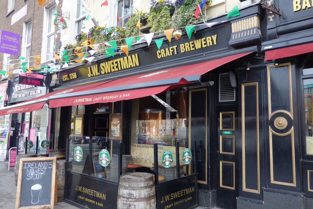 The presentable, keg fronted exterior of J.W. Sweetman's Craft Brewery and pub
