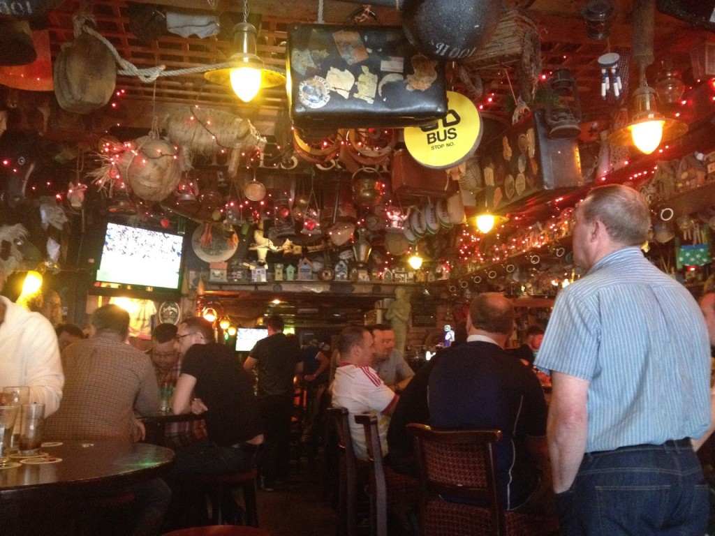 The traditional, object filled interior of Lanigan's Pub