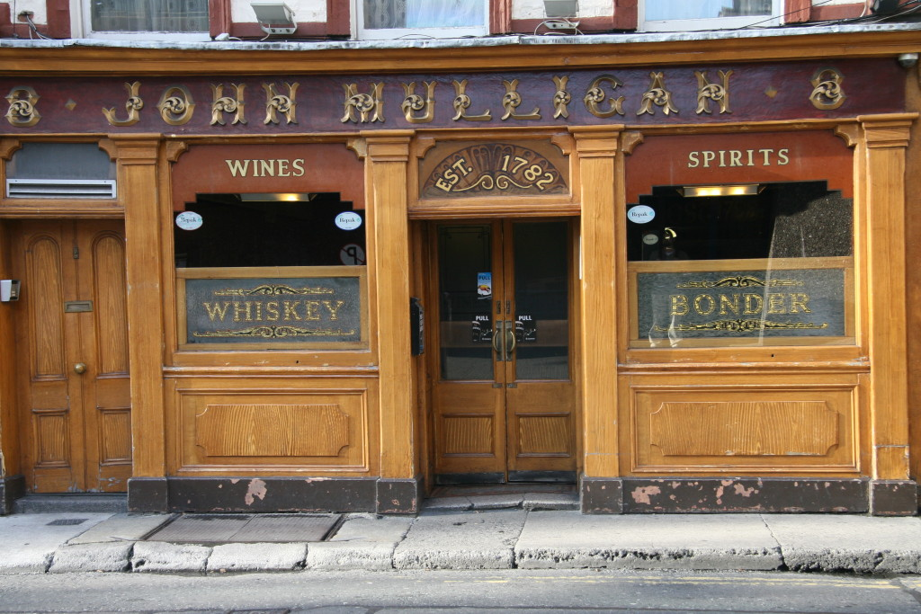 The traditional, wood-fronted exterior of Mulligan's pub, Dublin