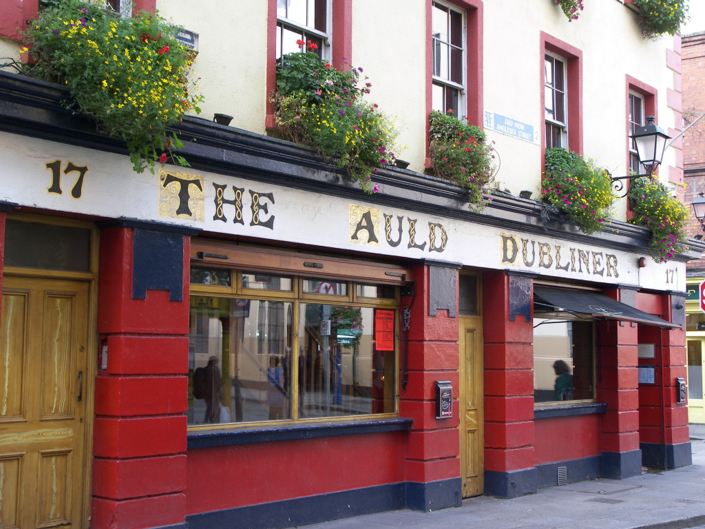 The red painted exterior of The Auld Dubliner pub