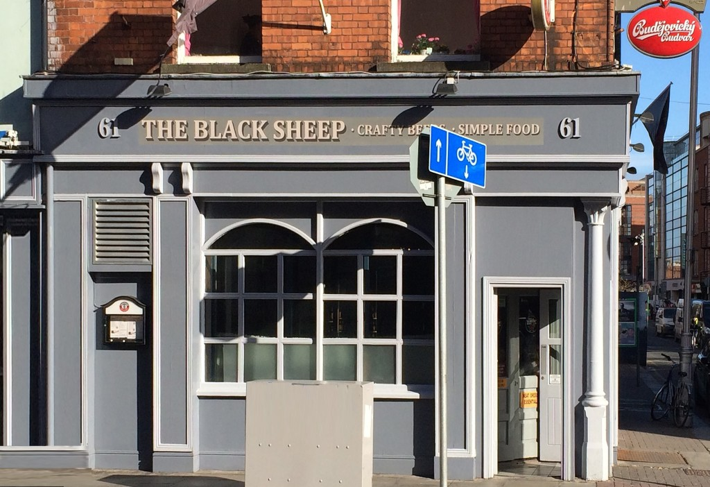 The distinct grey exterior of The Black Sheep pub