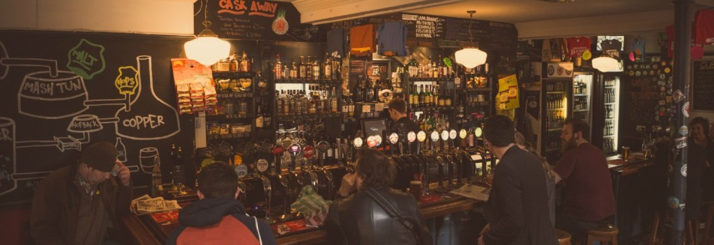 The well-stocked bar area in The Brew Dock