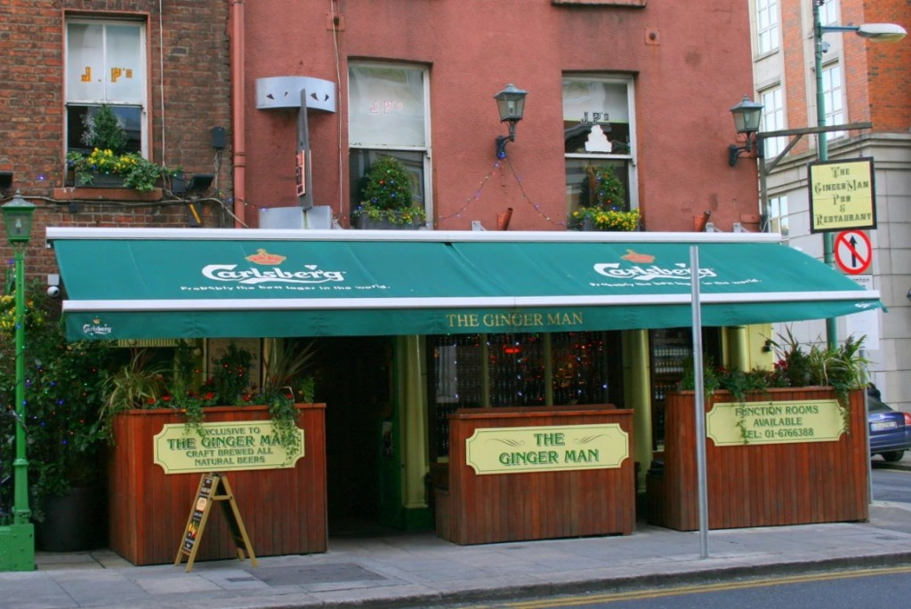 The awning covered exterior of The Ginger Man pub