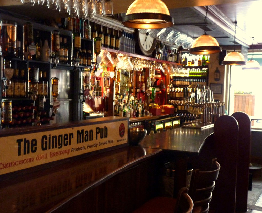 The Ginger Man's well-equipped, darkened wooden serving area
