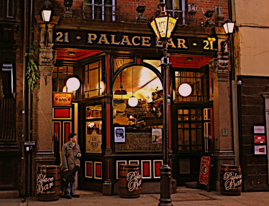 Illuminated and old world - the Palace Bar exterior in Dublin