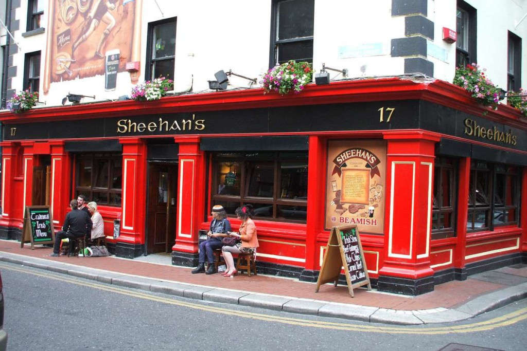 The bright, inviting exterior of Sheehan's Pub
