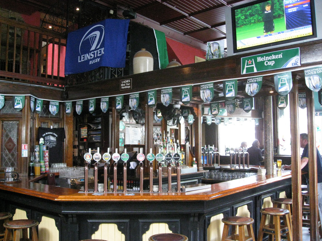 The distinct round bar at The Bleeding Horse