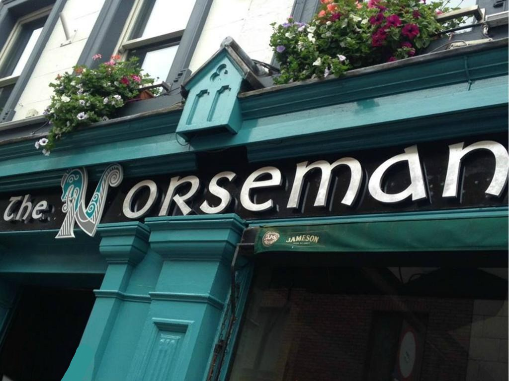 The turquoise, flowered exterior of The Norseman pub